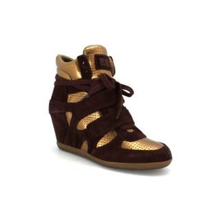 Acheter Chaussures ASH Bea - Sneakers Bed Bronze Basket Montante Femme à Prix Réduit