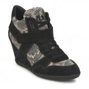 Authentique Chaussures ASH Bisou Noir/Python Basket Montante Femme En Soldes