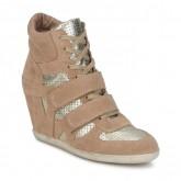 Chaussures ASH Bea Beige / Or Basket Montante Femme Soldes Lyon