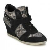 Chaussures ASH Bisou Noir/Snake Basket Montante Femme Pas Cher en Promo