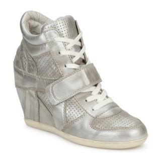 Chaussures ASH Bowie Argent / Beige Basket Montante Femme Soldes France