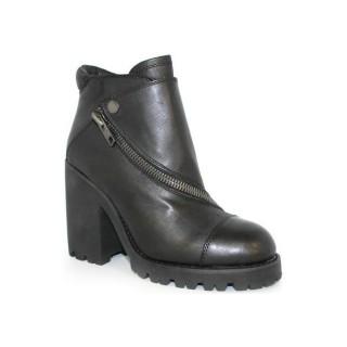 Chaussures ASH Podium - Botine Fermeture Éclair Peau Noir Bottines Femme Pas Cher Réduction De 50%