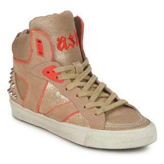 Chaussures ASH Spirit Beige/Or/Orange Basket Montante Femme Prix Moins Cher