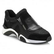 Nouvelle Chaussures ASH Femme Noir Hop Suede And Cuir Side Zip Trainers ASH_33 Basket Basses Femme Réduction Prix