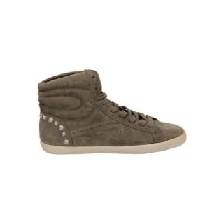 Officiel Chaussures ASH Calf Suede Beige Basket Montante Femme Faire un Rabais