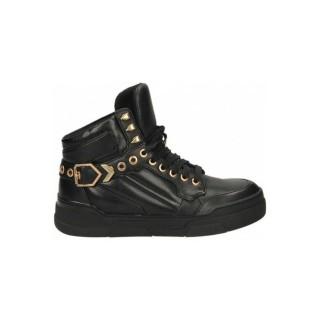 Officiel Chaussures ASH FlASH Bis Nappa Wax Noir Basket Montante Femme Pas Cher