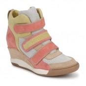 Solde Chaussures ASH Alex Corail / Jaune / Taupe Basket Montante Femme France Livraison Gratuite