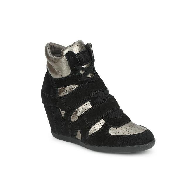 65c835780dc953 Original Chaussures ASH Bea Noir/Or Basket Montante Femme Pas Cher en Promo