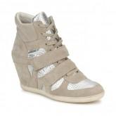 Boutique de Chaussures ASH Bea Beige / Argent Basket Montante Femme Pas Cher Prix