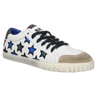 Mode Chaussures ASH Majestic Blanc Bleu Blanc Bleu Basket Basses Femme la Vente à Bas Prix