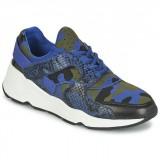 Promotions Chaussures ASH Matrix Bleu Camouflage Basket Basses Femme France Métropolitaine